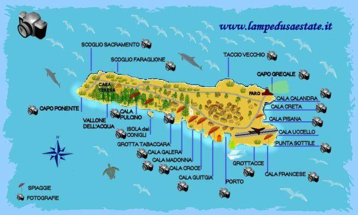 Lampedusa Estate Cartina Isola Di Lampedusa